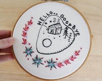 Home is Where the Heart is Embroidered Wall Hanging Hoop