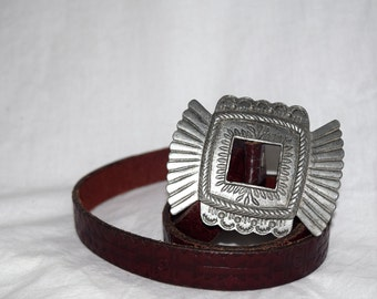 Aztec Goddess - Printed Leather Belt with Great Silver Buckle