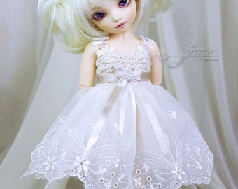 Ecru & beige dress for TINY bjd LittleFee Momocolor 29, Saintbloom