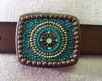 Turquoise and Bronze Compass Belt Buckle