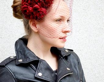 Red Roses Kimono Silk Flower Headdress Fascinator