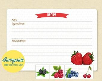 Fruit Recipe Cards - Strawberry, Blackberry, Cherry, Raspberry or Blueberry - Printable Recipe Card