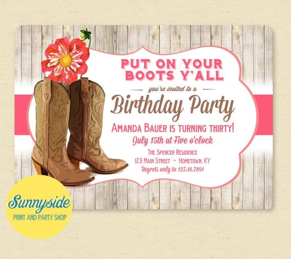 Western Boots Birthday Party Invitation with Pink Dahlia Cowgirl – Country Party Invitations