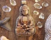 "Buddha in Serpentine, Silver Bezel Set, Refief Carved Pendant, Boho, Zen, Spiritual, Yoga Inspired Jewelry Making, Fashion, 3+"", 1 pc"