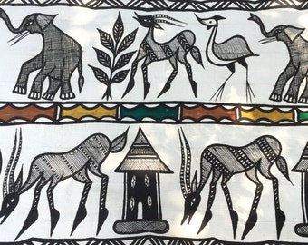 Wild and Free Korhogo, like MudCloth from Ivory Coast, Tribal Wall Hanging, Decor Supply, Wall Hanging, Tribal Black & White Textile