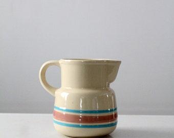 vintage McCoy pitcher, pink and blue stripe pottery