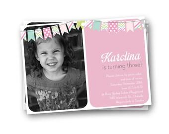 Girls Birthday Invitation, Pink Birthday Invitation, Fifth Birthday Invite, Bunting Invitation