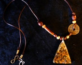 Fortune Pyramid Orgonite Necklace - on Leather cord with Wood and Brass Beads and Chinese Lucky Coin - Fortune-Wealth-Abundance-Luck-Power