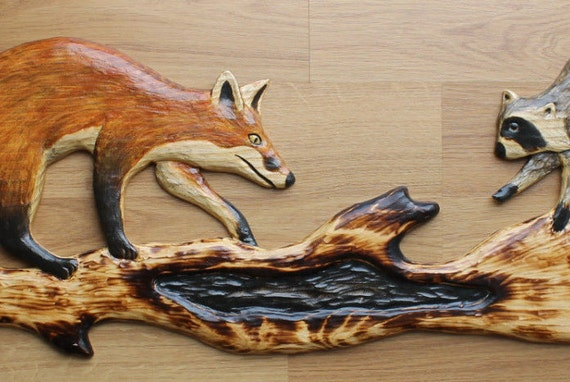 Hand carved raccoon cub red fox chainsaw cabin decor wall art
