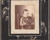 Book-Learning- 1900s Antique Photograph- Little Boy Reading Book- Edwardian Child- Found Photo- Cabinet Photo- Paper Ephemera