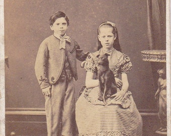 George, Ethel and Ruby- 1800s Antique Photograph- Creepy Victorian Children and Pet Dog- CDV- Haunting- Falmouth, Mass- Paper Ephemera