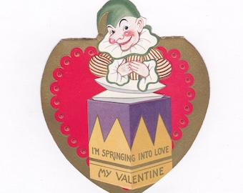 Springing Into Love- 1930s Vintage Valentine Card- Jack-In-The-Box- Punchinello Clown- Creepy Cute- Antique Valentine Decor- Paper Ephemera