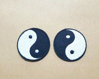 Set 2 pcs Yin Yang Applique Embroidered Iron on Patch size 4.1 x 4.1 cm.