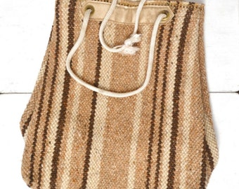 Striped Wool Tote Bag 1970s Beige Tan Hippie Boho Vintage Woven Drawstring Shoulder Bag