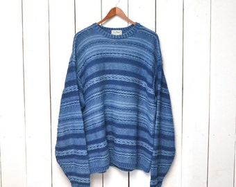 Cosby Cotton Sweater 1980s Vintage LL Bean Woodland Blue Slouchy Pullover L - 2XL