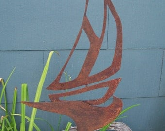 Sail Boat Garden Decor, Rusty Steel Garden Decor, Garden Art For Beach or Lake House