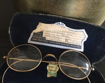 Vintage Gold Eyeglasses Round Wire Rim Spectacles In Case Panoptik Bifocals Eye Glasses ~ #5854
