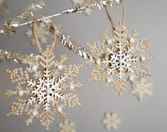 Rustic Snowflake Ornament - Silver And Gold Snowflake Ornament - Old Fashioned Snowflake Christmas Ornaments - Bendable Snowflake Ornaments