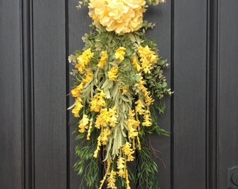 Spring Wreath Summer Wreath Teardrop Vertical Door Swag Decor-Artificial Floral Swag-Yellow Hydrangea-Indoor Outdoor Decor