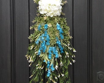 SALE was 75.00 Spring Wreath Summer Wreath Teardrop Vertical Door Swag Decor Floral Door Indoor Outdoor Decor Blue White Wispy Swag