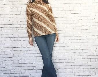 Vintage 70s Disco Polka Dot Diagonal Striped Top Shirt L Brown Beige Long Sleeve Pointed Collar