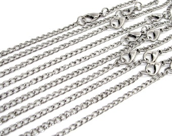 Silver Necklaces : 10 Antique Silver 30-inch Twist Oval Link Chain Necklaces with Lobster Clasps -- Lead, Nickel & Cadmium Free 50625