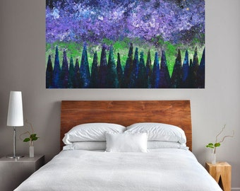 24x36 Original Painted Textured Aurora Borealis Northern Lights Cosmos Night Sky Pine Tree Landscape