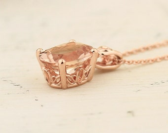 """Natural AAA 10x8mm Oval  Pink  Morganite Vintage Style Pendant 14K Rose Gold with 18"""" Cable chain"""