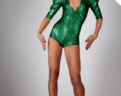 Ready To Ship! Bodysuit in Green Hologram, Dance Stage Wear, Poison Ivy Costume, Holographic Romper, Futuristic Leotard, by LENA QUIST