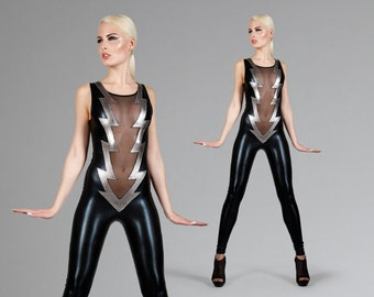 Lightning Bolt Catsuit, Glam Rock Stage Wear, Ziggy Stardust, Burning Man Costume, Dance Leotard, Music Video, David Bowie, by LENA QUIST