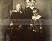 Creepy Halloween Decor Print, Freak Family Print, Dark Party Decoration, Two Headed Child, Altered Victorian Photography, Oddities