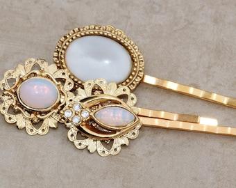 Vintage White Pin Fire Opal Jeweled Bobby Pins,White Opal Cabochon,Weddings,Bridal Bobby Pin Set,Set of Three,Gold Bridal Bobby Pin,OOAK,Old