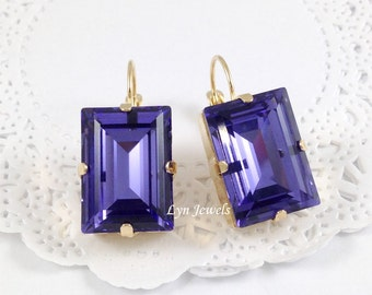 Purple TANZANITE Earrings // December Birthstone Earrings // Swarovski Crystal Rectangle Princess Cut Purple Baguette Nickel Free Earrings