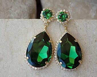 Mother of Bride Teardrop Earrings, Gold Emerald Earrings, Drop Shaped Dangle Earrings, Green Swarovski Earrings, Rhinestone Emerald Earrings