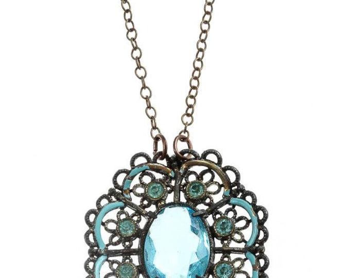 Blue Art Deco Necklace Simple Chain Pendant Lace Pattern Wedding Jewelry USA 1920s 16E