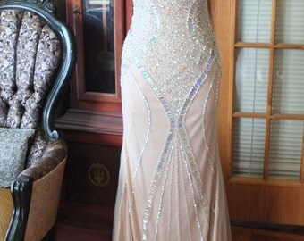 Beaded jeweled wedding dress backless illusion rhinestone encrusted art deco dress