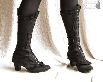 Victorian style Spats, Steampunk shoe covers, black spats,Maeror, Somnia Romantica,approx size extra large see item details for measurements