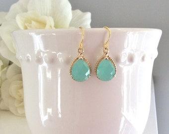Gold Earrings, Aqua Earrings, Mint Earrings, Bridesmaids Earrings, Bridesmaid gifts, Gifts for her, Best Friend Gifts