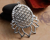 2 Flower of Life Charms in Silver Tone - C2401