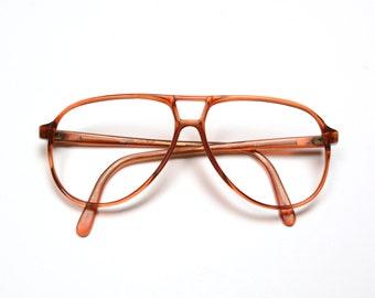vintage 80s aviator glasses brown plastic oversize eyeglasses Firenza 1980 plastic aviator frames Terry Richardson style