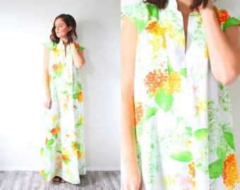 Vintage 70's maxi dress // green yellow orange tropical floral maxi dress // floral vacation dress // long 1960's 1970's dress maxi dress