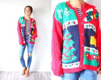 Vintage ugly christmas sweater // red christmas tree stocking snowflake sweater // oversized sweater // christmas cardigan christmas jumper