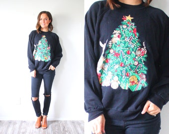 Vintage ugly christmas sweatshirt // cute christmas jumper // black tree sweatshirt // ugly christmas oversized sweater // Christmas jumper