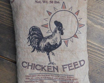 Sunrise Farm Chicken Rooster Feed Sack Pillow