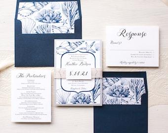 "Destination Wedding Invitations, Navy Blue Invitations, Burlap, Classic, Elegant, Seashell Envelope Liners - ""Beach Blues"" Sample"