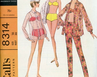 Mod Two Piece Swimsuit with Beach Shirt and Pants, 1966 McCall's Sewing Pattern 8314, Size 16, Bust 36
