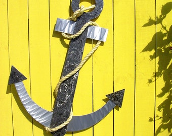 Anchor Art, Anchor Metal Art, Two Sizes, Outdoor Metal Wall Art, Metal Wall Art, Large Metal Wall Art, Outdoor Metal Art, Outdoor Artwork