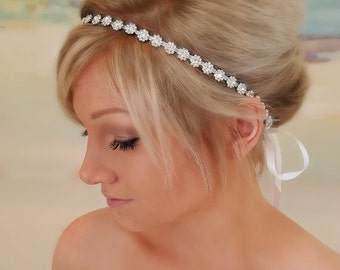 Bridal Headband, Bridal Hair Piece, Parker, Accessories, Bridal, Wedding Hairpiece, Bridal Ribbon Headband, Floral Headpiece, Ribbon