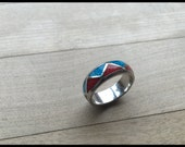 Reserved- Nikki's beautiful zuni navajo wedding band turquoise and red coral inlay - large to x-large in a size 12