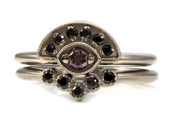 Evil Eye Engagement Ring Set - 14k Palladium White Gold with Lavender Diamond Eye and Black Diamonds